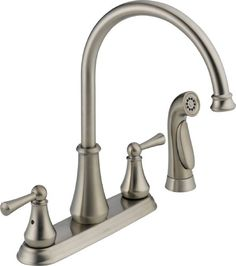 Delta 21902LF-SS Lewiston Two Handle Kitchen Faucet with Spray, Stainless. Details at http://youzones.com/delta-21902lf-ss-lewiston-two-handle-kitchen-faucet-with-spray-stainless/