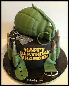 Birthday cake for military man.