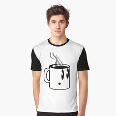 Cute and simple, this little guy is here to give a caffeinated kick to your day!  #coffee #mug #cup #cute #line-art #t-shirts #aocillustration