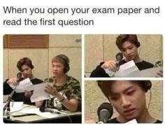 Quand tu ouvres la feuille d'examen et que tu commence à lire la premièrequestion