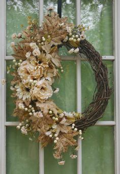 Spring wreath wreaths summer wreath shabby chic country primitive wedding decor burlap mother's day floral door wreath romantic wreaths