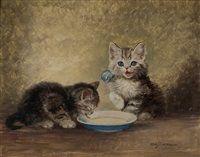 Cats at the milk saucer by Meta Plückebaum
