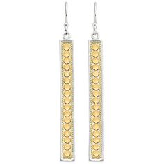 ANNA BECK Linear Drop Earrings - Gold (275 CAD) ❤ liked on Polyvore featuring jewelry, earrings, gold, circle jewelry, gold circle earrings, yellow gold earrings, gold hook earrings and hook earrings