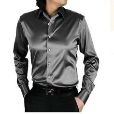 Bikinmoon Hot sale long sleeve casual loose silk men shirt thin plus size plus size male wedding shirts solid 21 color Sa02400Normal L | Winter Wedding Ideas   #WinterWeddingIdeas