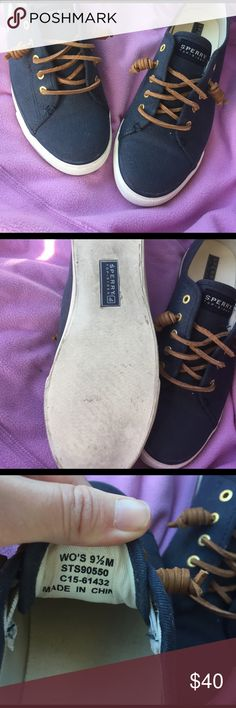 Sperry Top-Slider Navy gently used Shoes are in excellent condition! Only worn once! Open to offers no trades Sperry Top-Sider Shoes Sneakers