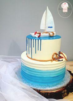 Anchor Birthday Cakes, 60th Birthday Cake For Men, Birthday Drip Cake, Sailboat Cake, Nautical Cake, Cake Icing, Buttercream Cake, Cupcake Cakes, Ocean Cakes