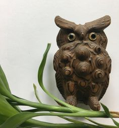 Vintage Cryptomeria Wooden Knotty Owl Figurine 1960s by WylieOwlVintage on Etsy