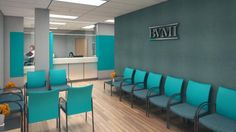 The reception area at BVMI is designed to be warm and inviting as well as efficient. Poskanzer Skott focused on finishes that are utilitarian and budget-friendly, utilizing laminates for countertops, wood-patterned vinyl for floors, and textured wall covering to create a highlight wall in the seating area. Teal-colored tackboard on the walls near the reception desk provides acoustical absorption for greater privacy as well as space for posting notices to patients. Credit: Poskanzer Skott…