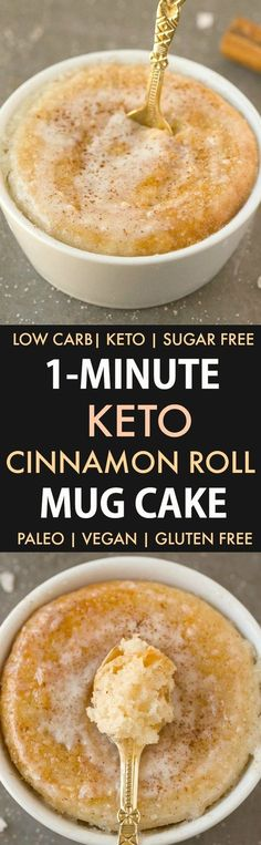 Keto Cinnamon Roll Mug Cake (Paleo, Vegan, Sugar Free, Low Carb)- An easy mug cake recipe which takes one minute and is super fluffy, light and packed with protein- Tastes like a cinnamon bun! Recipe on t Mug Cake Low Carb, Mug Cake Healthy, Keto Mug Cake, Healthy Protein, High Protein, Low Carb Sweets, Low Carb Desserts, Low Carb Recipes, Ketogenic Recipes