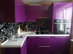reverse it. black cabinets with purple walls and white floral