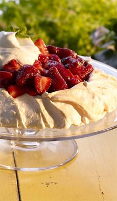 Strawberry Meringue - You'll be floating on air with this heavenly dessert that tastes as good at it looks! Plus, how can you not love a dessert that is so cholesterol-friendly—the recipe uses only the whites of eggs.