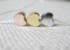 Minimalist heart necklace rose gold silver - kaulakoru punakulta hopea sydän