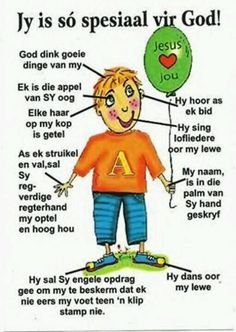 Jy is spesiaal vir God! Hug Quotes, Bible Quotes, Bible Verses, Prayer For My Children, Bible For Kids, Bible Lessons, Lessons For Kids, Afrikaans Language, Senses Activities