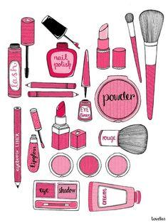 Pink makeup illustration