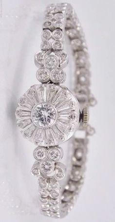 Beautiful Ladies Omega Platinum VS G/H Color Diamond Bracelet Watch 17j 6.28cttw #Omega