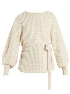 Sea Classic tie-waist purl-knit sweater