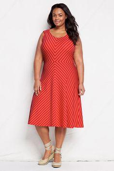 6e04d20ecf6 Women s Pattern V-neck Shirred Shoulder Dress from Lands  End  plus   plussize