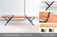 HomeMade Modern DIY Pipe Bench Postcard