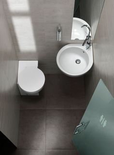 YOU & ME - Production of designer sanitary appliances in ceramic, bathroom furnishings and accessories - Hatria Srl Tiny Bathrooms, Tiny House Bathroom, Beautiful Bathrooms, Small Bathroom, Modern Bathroom Decor, Bathroom Layout, Bathroom Interior, Corner Toilet, Small Toilet Room