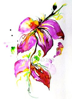 Flowers Painting Abstract Original Watercolor  - Pink, Coral, Sage Green - Botanical Watercolors