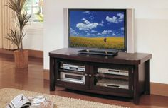 Brussel Contemporary Espresso Wood Glass TV Stand
