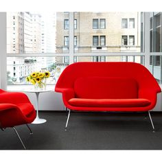 Saarinen Womb Settee Red in Living Room with Red Womb Chair and Tulip Side Table Knoll