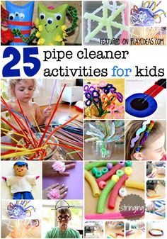 The most fun pipe cleaner activities for kids! The kids will have way too much fun learning and playing with these - great for developing fine motor skills. Motor Activities, Craft Activities For Kids, Toddler Activities, Projects For Kids, Summer Activities, Craft Ideas, Toddler Fun, Toddler Crafts, Kids Crafts