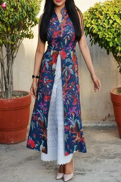 Buy Blue Printed Cotton Kurti with Lakhnawi Palazzo Online in India Silk Kurti Designs, Salwar Designs, Kurta Designs Women, Kurti Designs Party Wear, Short Kurti Designs, Printed Kurti Designs, Long Dress Design, Stylish Dress Designs, Designs For Dresses