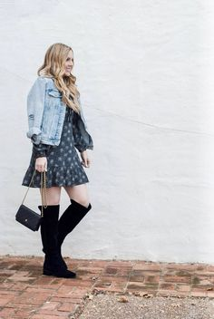 How To Style Over the Knee Boots. Not sure how to wear over the knee boots the right way? Read more as Ashley of Curls and Cashmere shares how to wear over the knee boots to work, for a night out, and as part of a casual outfit. Workwear Fashion, Work Fashion, Fashion Group, Mom Outfits, Casual Outfits, Night Outfits, Boots And Leggings, Corporate Fashion, Workout Attire