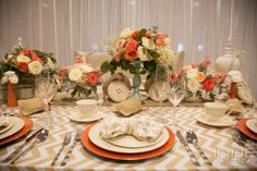 Burlap Chic tablescape created for BEA January 2014 Atlanta, GA by www.ciaobellaweddings.com (coral, mint and burlap)