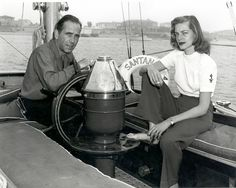 """""""Vintage Photo"""" Lauren Bacall and Humphrey Bogart aboard his sailing yacht, the """"Santana"""" The sea was his sanctuary and he loved to sail around Catalina Island as a member of the Los Angeles & Catalina Yacht Club's Hollywood Couples, Hollywood Stars, Classic Hollywood, Old Hollywood, Hollywood Icons, Celebrity Couples, Hollywood Glamour, Bogie And Bacall, Old Fashioned Love"""