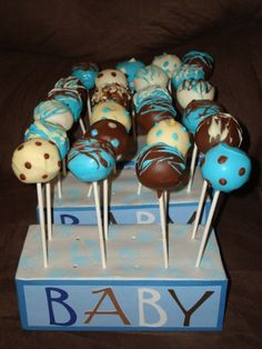 Boy Baby Shower Cake Ball Centerpieces (piece of foam wrapped up for the base)