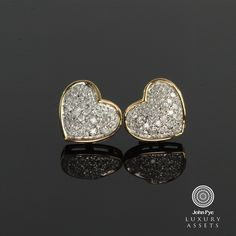 9ct #Gold Pair of #Heart Shaped #Studs