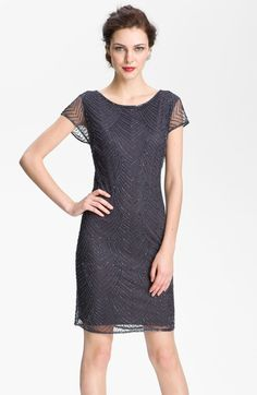 Pisarro Nights Beaded Overlay Silk Chiffon Dress available at #Nordstrom