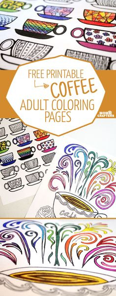 Don't you just love complex coloring pages? These free printable coloring pages for adults come in a coffee theme, because, I'm obsessed!