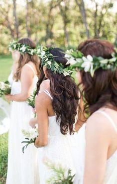 Photo by: Sea Light Studios. wedding bridesmaids Home - Sea Light Studios Hawaiian Flower Crown, Hawaiian Wedding Flowers, Flower Crown Wedding, Wedding Hair Flowers, Bridesmaid Flowers, Wedding Bridesmaids, Flowers In Hair, Hawiian Wedding, Hawaiian Hair
