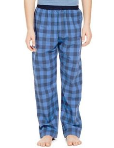 fc9dc92067 2 Pack Pure Cotton Stay Soft Checked Pyjama Bottoms (6-16 Years)