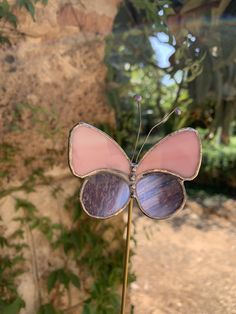Stained glass butterfly, yard stake, handmade Butterfly Plants, Glass Butterfly, Messing, Stained Glass, Mirrored Sunglasses, Etsy, Handmade, Yard, Plants