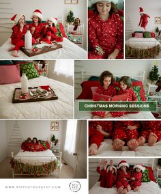 Milk and cookies mini session, holiday bed, Christmas Morning photo session