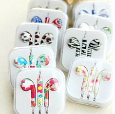 New Cute Floral Painted 3.5mm In Ear Earphone Earbud Headphones - Free Shipping - Happy New Year Sale!!