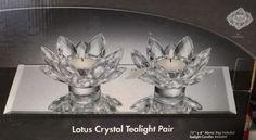 New Shannon Crystal by Godinger Lotus Crystal Tealight Pair w/Mirror Tray   #ShannonCrystalbyGodinger