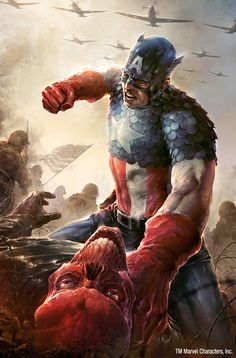 Captain America fighting Red Skull