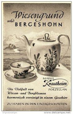 Original-Werbung/Anzeige 1954 - KRAUTHEIM PORZELLAN / WIESENGRUND UND BERGESHÖHN - ca. 65 x 110 mm