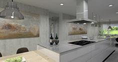 Cocina modelo Line con combinación de blanco polar brillo y encimera Silestione Grey Amazon.