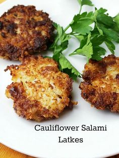 Cauliflower Salami Latkes - a Chanukah treat