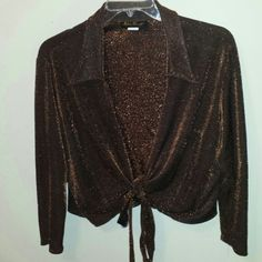 WRAP BLOUSE Brown sparkle TIE front perfect for an evening out Tops Blouses