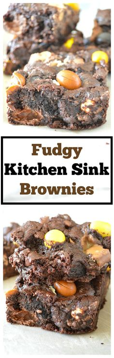 Fudgy Kitchen Sink Brownies - moist and chewy brownies are loaded with the a ton of chocolate, candy and cookies; it's like 10 desserts in 1!