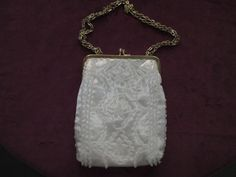 Vintage White Beaded Purse/Clutch by BitofHope on Etsy, $28.00