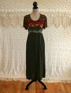 90s Dress Tribal Print Hippie Boho Rayon Grunge Short Sleeve