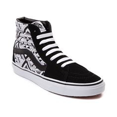 Deck out your skate style from every angle with the new Sk8 Hi Deco Geo Skate Shoe from Vans! The Sk8 Hi Deco Geo Skate Shoe rocks a high top design constructed with soft suede uppers, geometric printed canvas side panels, and vulcanized sole construction for natural board feel. Available for shipment in November; Only available at Journeys and SHI by Journeys! Features include Soft suede upper with canvas side panels Lace closure for a secure fit Padded collar provides stability a...
